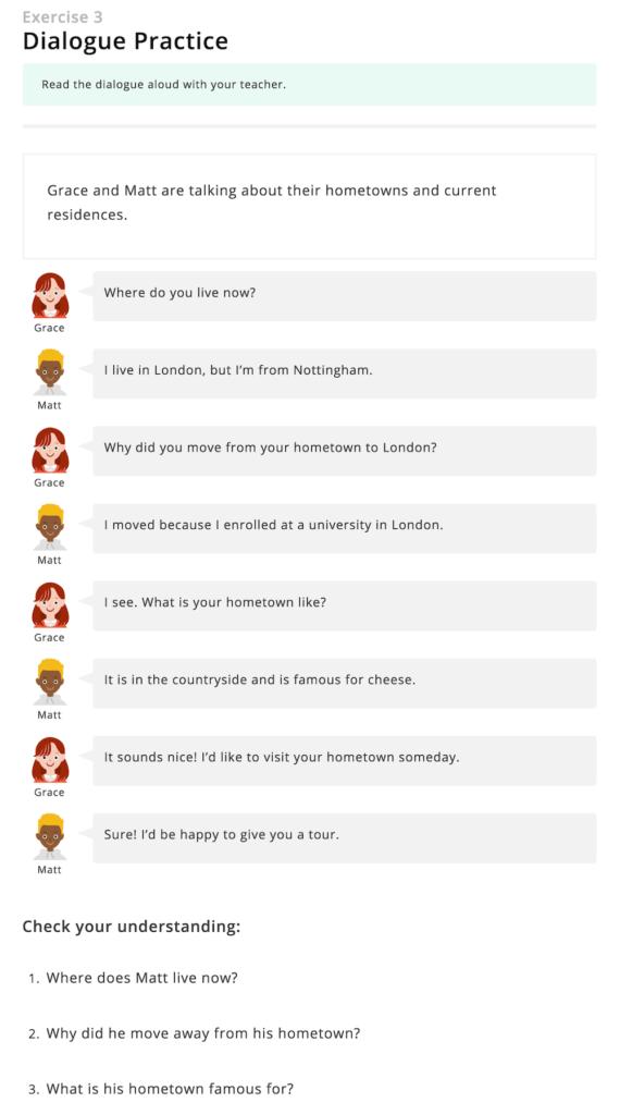 DMM英会話の教材「会話」の会話例